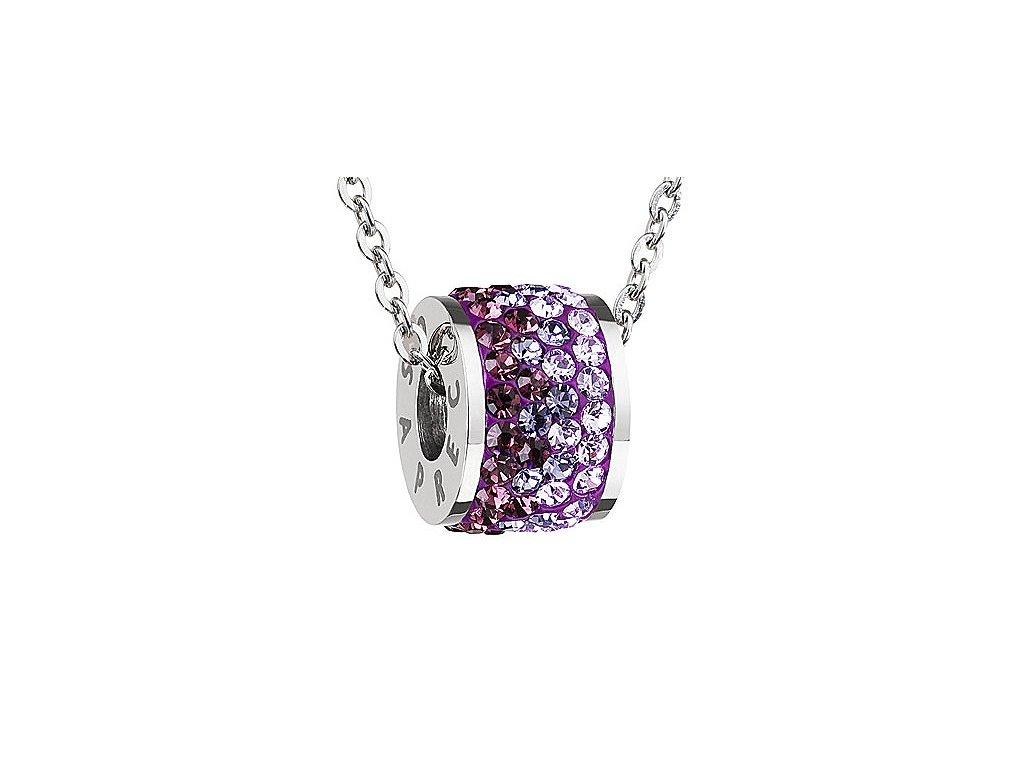 Přívěsek z broušeného skla Mirai ve fialové barvě od firmy Preciosa