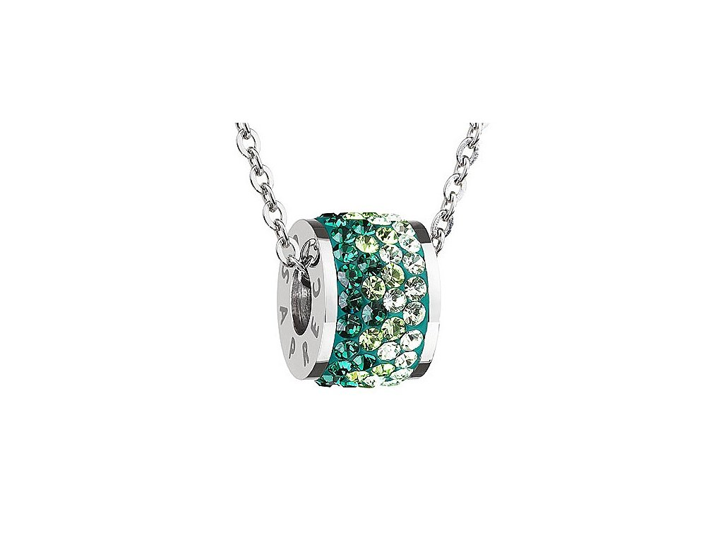 Přívěsek z broušeného skla Mirai v zelené barvě od firmy Preciosa
