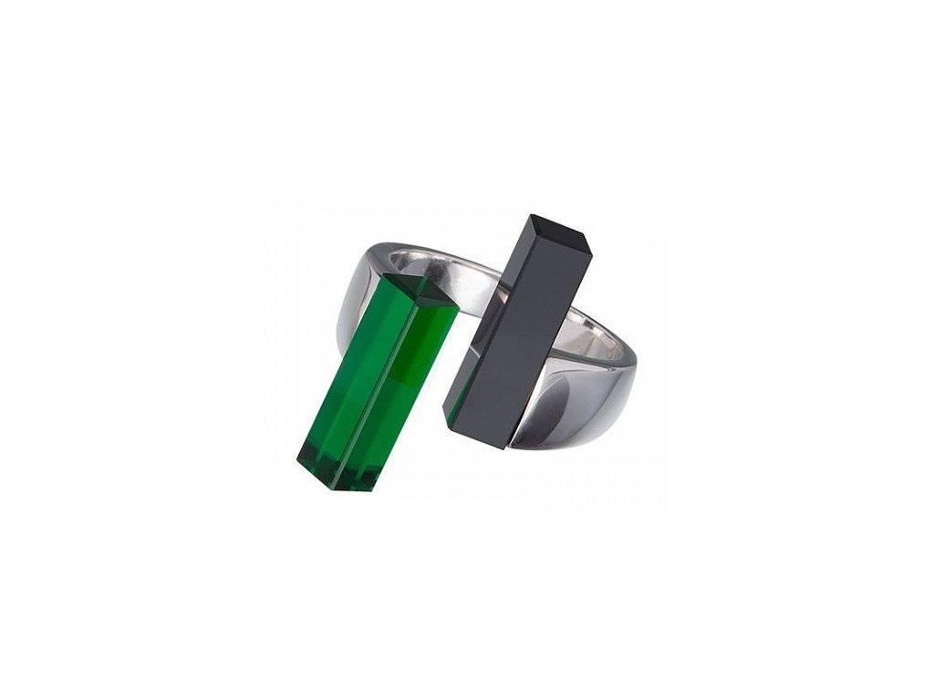 Stříbrný prsten Fresh Style v zelené barvě od firmy Preciosa