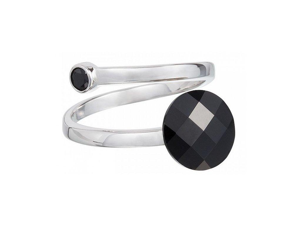 Stříbrný prsten Dark Style v černé barvě od firmy Preciosa