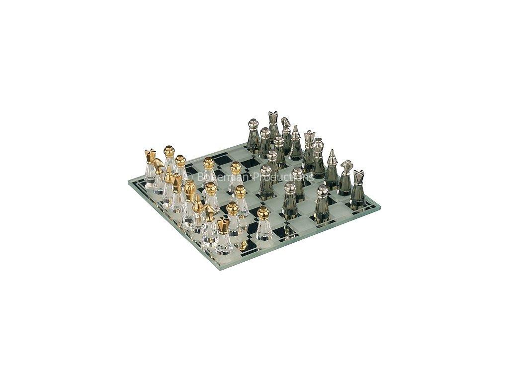 Šachy z českého křišťálu Preciosa malé - zlaté a stříbrné zdobení 0823 00