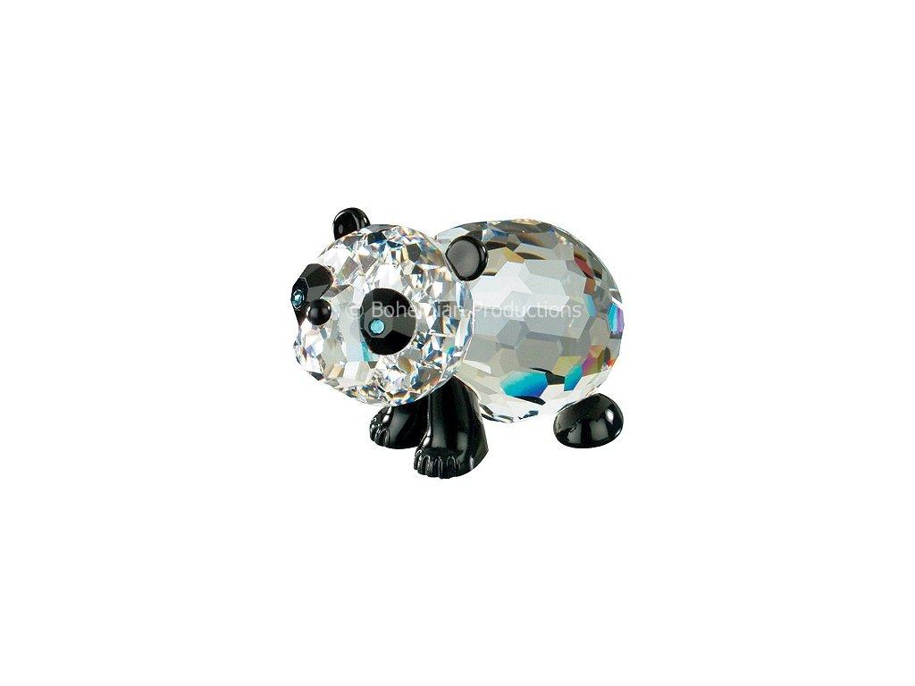 Skleněná figurka z broušeného křišťálu Sklo Bohemia - Malá panda (černá)