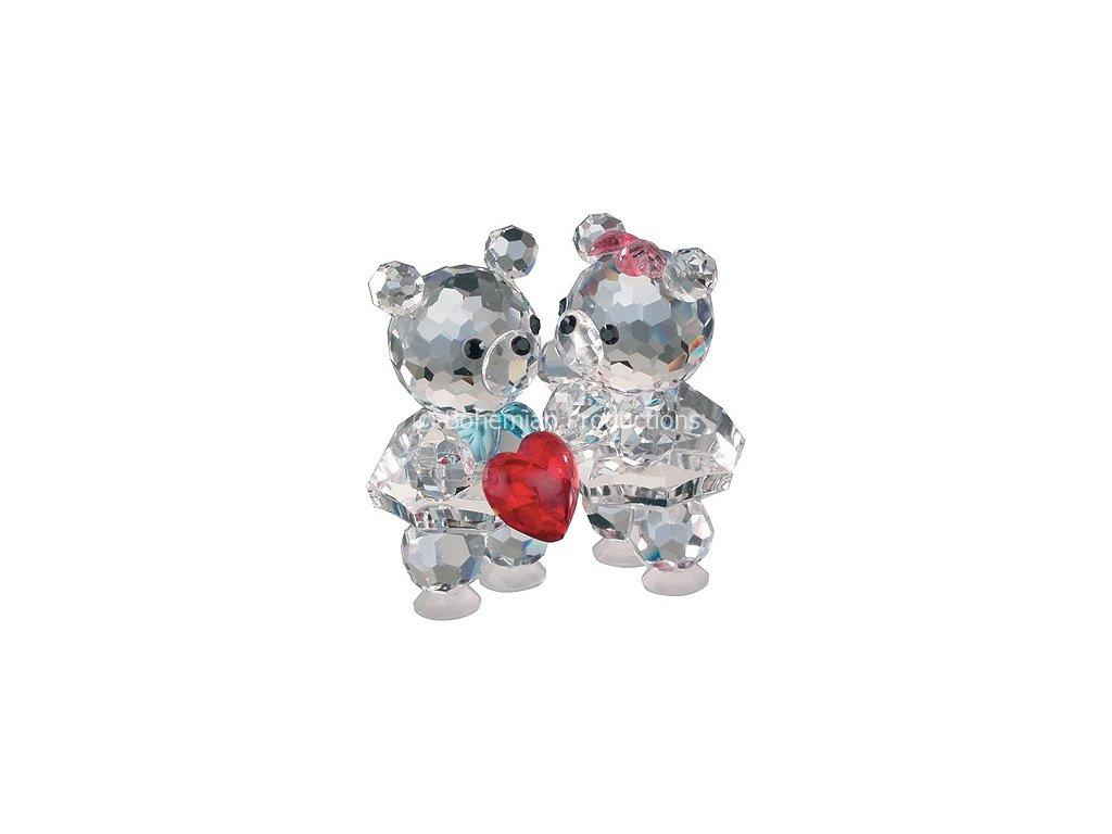 Skleněné figurky z broušeného křišťálu Sklo Bohemia - Zamilovaní medvídci