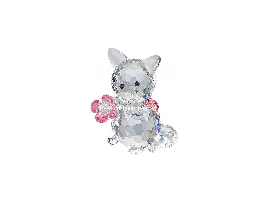 Skleněná figurka z broušeného křišťálu Sklo Bohemia - Kočička s kytičkou