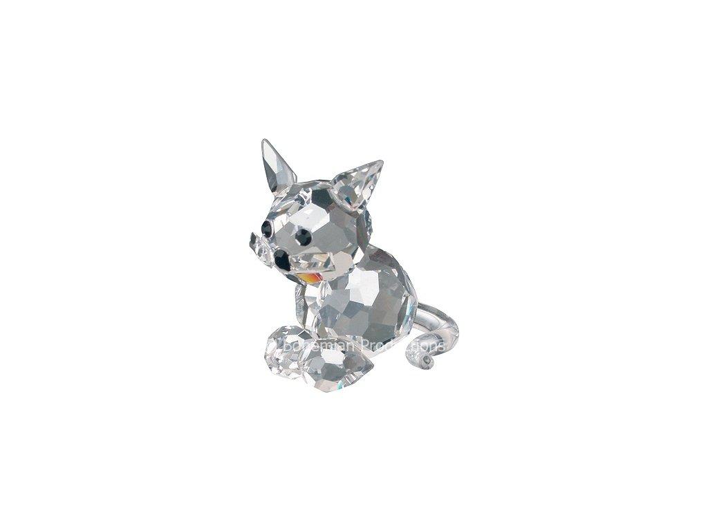 Skleněná figurka z broušeného křišťálu Sklo Bohemia - Sedící kotě