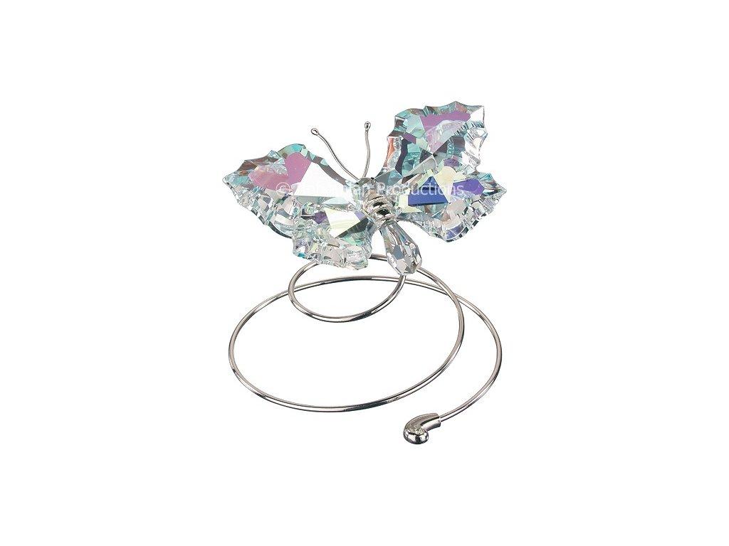 Skleněná figurka z broušeného křišťálu Sklo Bohemia - Letící motýl (světlý)