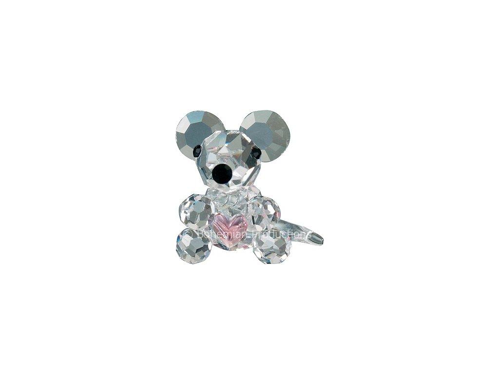 Skleněná figurka z broušeného křišťálu Sklo Bohemia - Myš (miniatura)