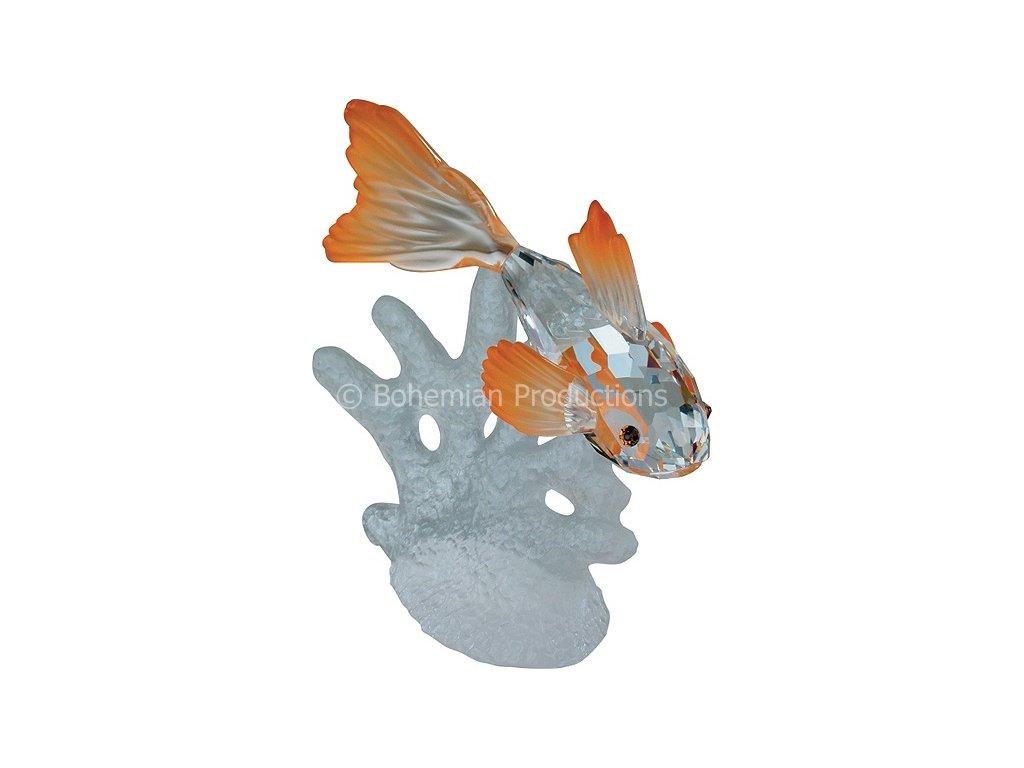 Skleněná figurka z broušeného křišťálu Sklo Bohemia - Zlatá rybka