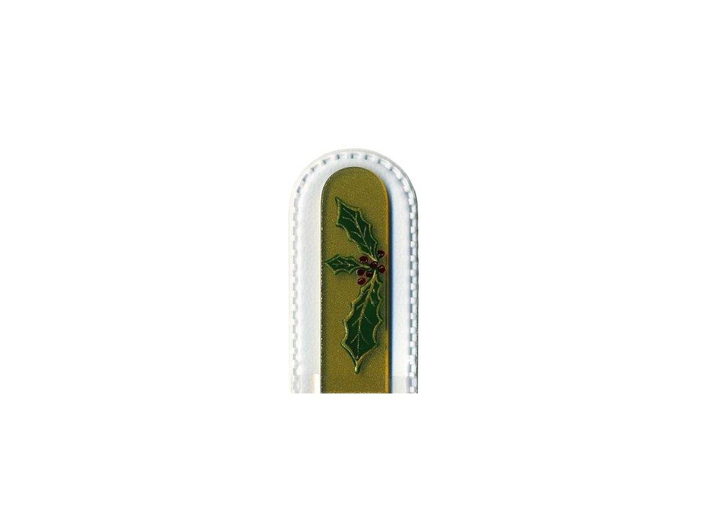 Skleněný pilník 135 mm s vánočním motivem - Cesmína