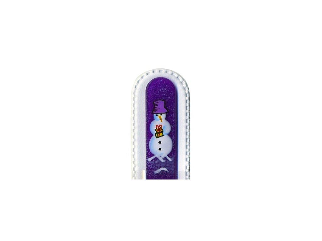 Skleněný pilník 135 mm s vánočním motivem - Sněhulák