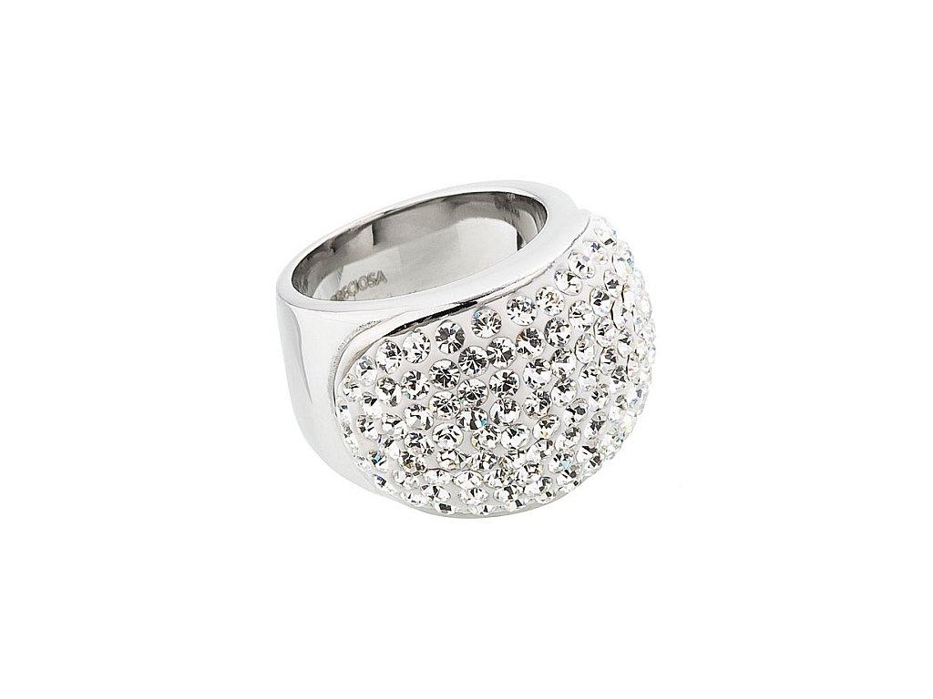 Prsten z broušeného skla Brillant v křišťálové barvě od firmy Preciosa