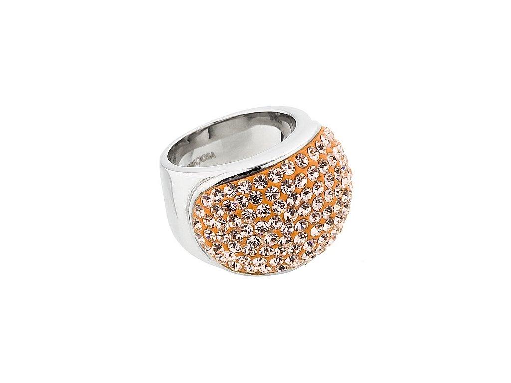 Prsten z broušeného skla Brillant v oranžové barvě od firmy Preciosa