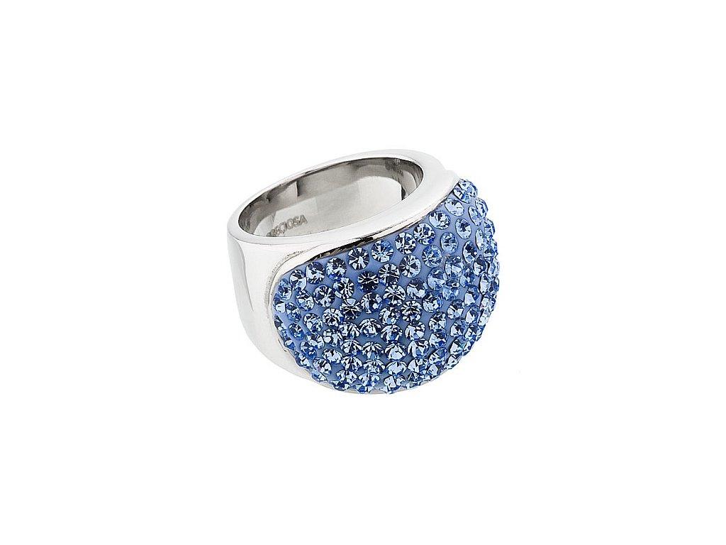 Prsten z broušeného skla Brillant v modré barvě od firmy Preciosa