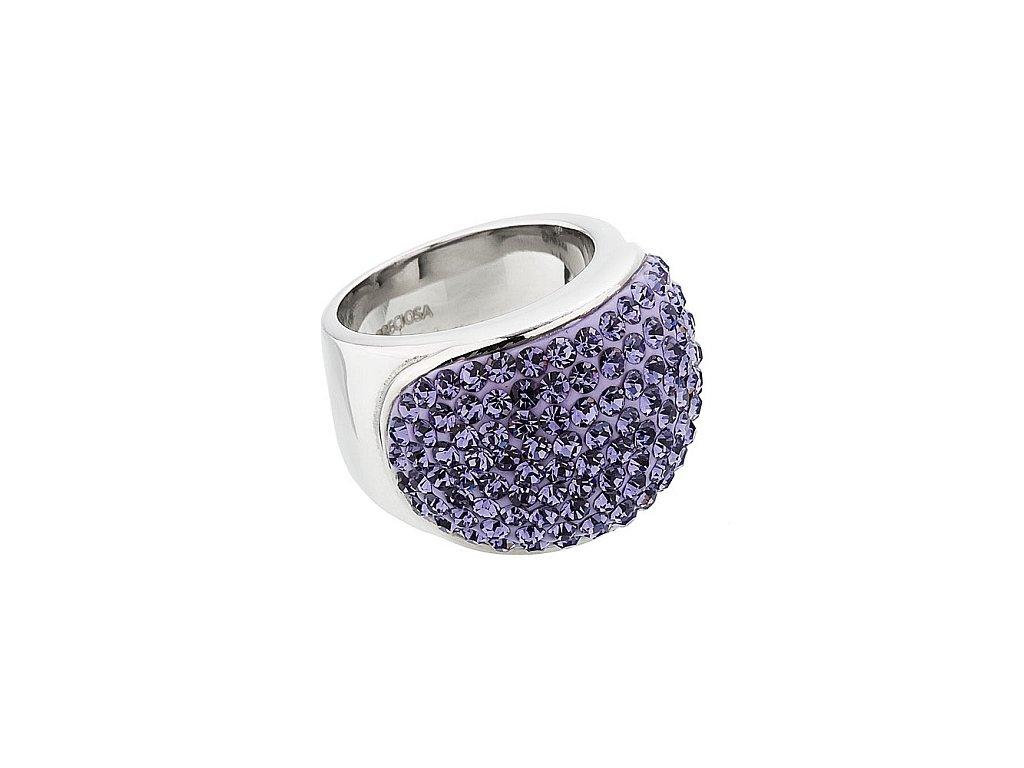 Prsten z broušeného skla Brillant ve fialové barvě od firmy Preciosa