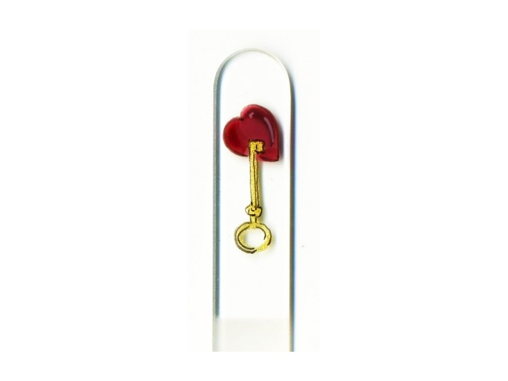 Skleněný pilník na nehty ručně malovaný 135 mm - Klíč se srdcem