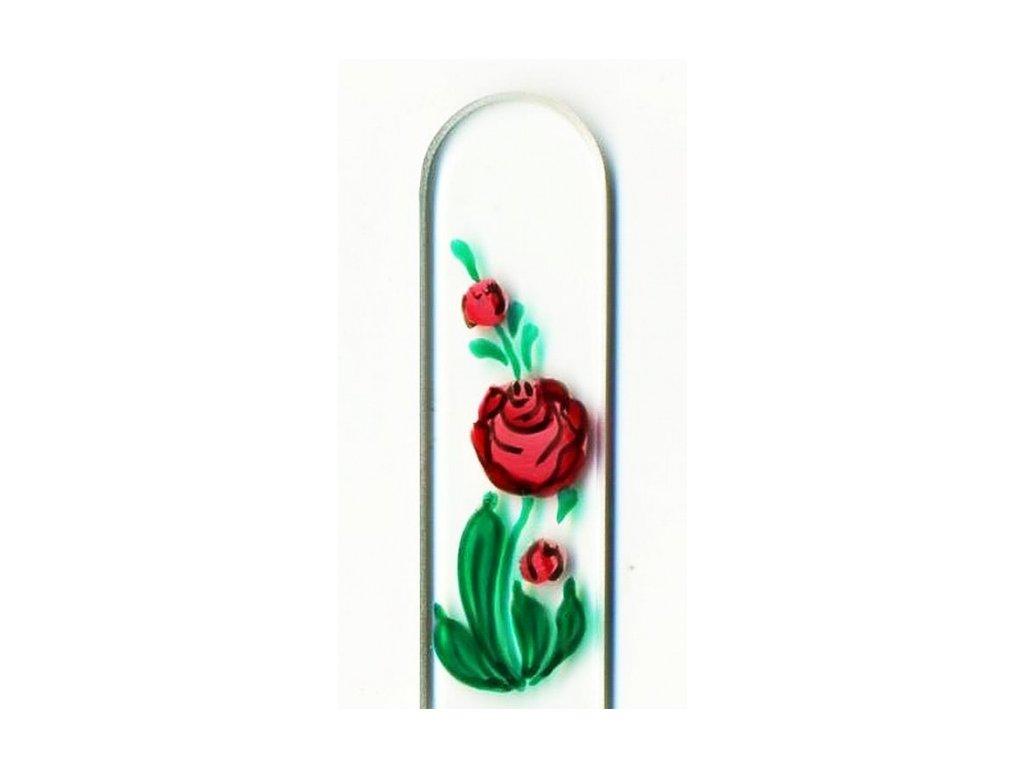 Skleněný pilník na nehty ručně malovaný 135 mm - Růže