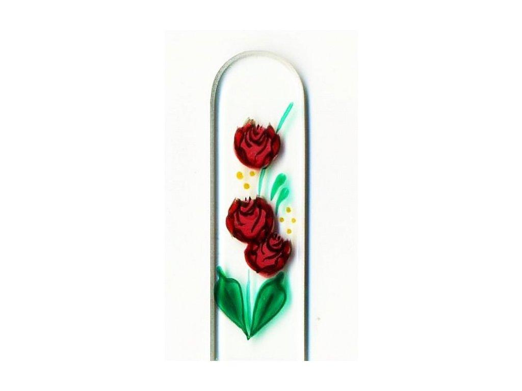Skleněný pilník na nehty ručně malovaný 135 mm - Tři růže