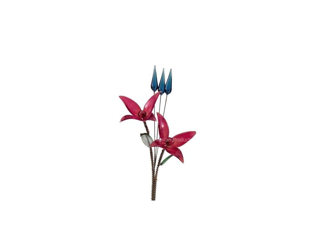 Skleněná kytka  Červený květ