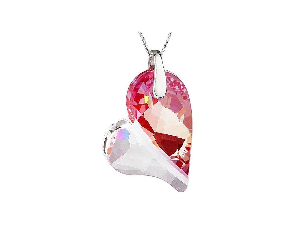 Přívěsek z broušeného skla Lover´s Love v barvě fuksia od firmy Preciosa