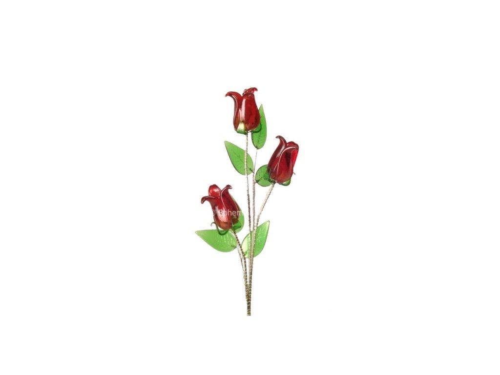 Skleněná kytka - Červený tulipán