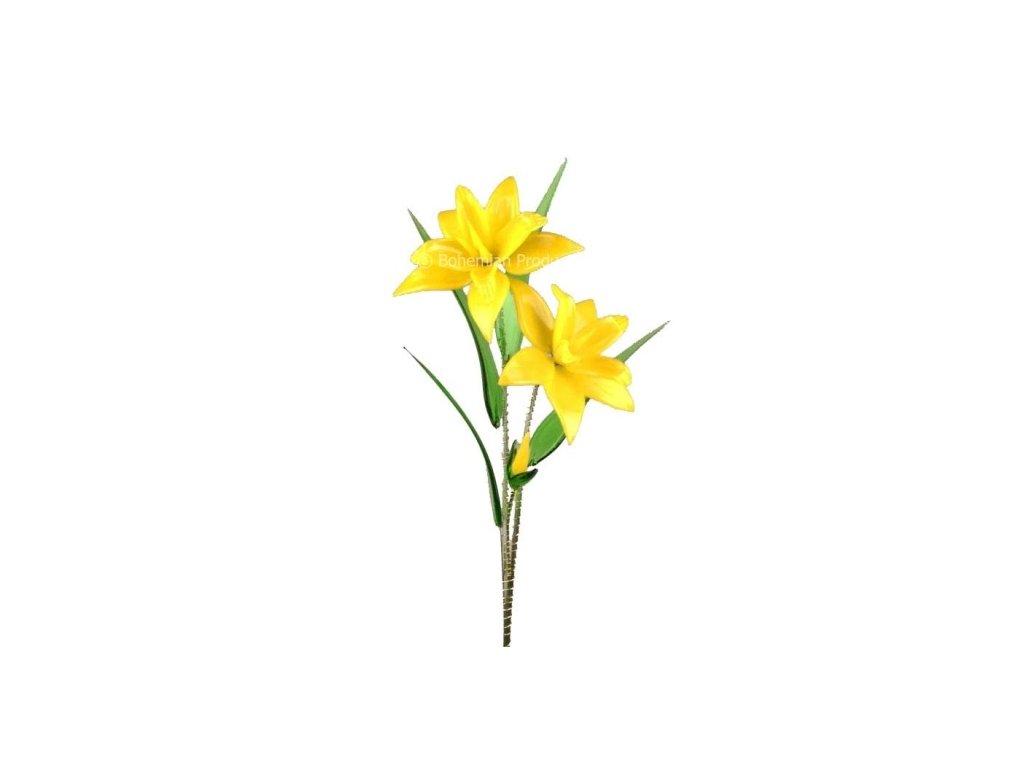 Skleněná kytka - Žlutý narcis