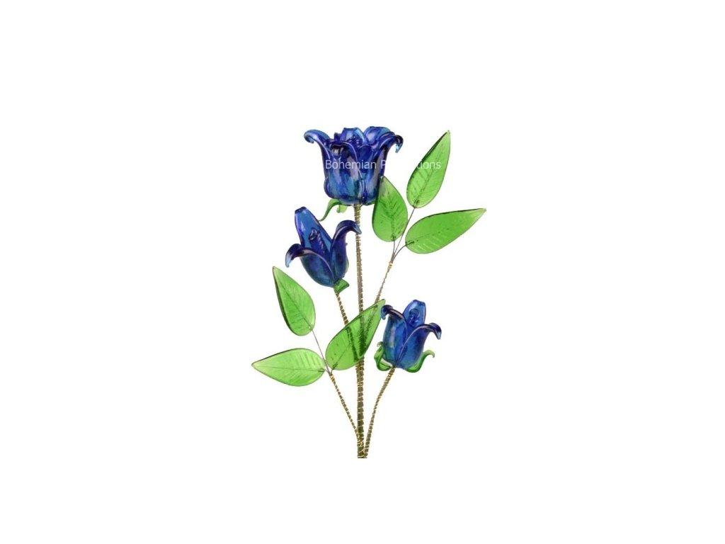 Skleněná kytka  Modrá růže