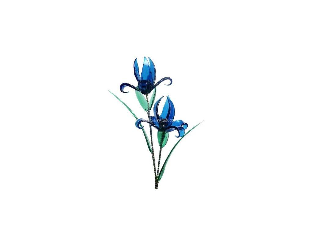 Skleněná kytka  Modrá chrpa