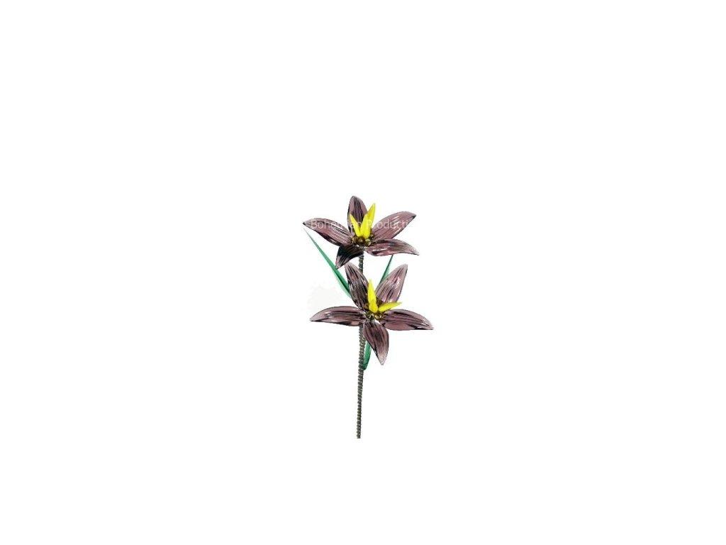 Skleněná kytka  Fialový květ