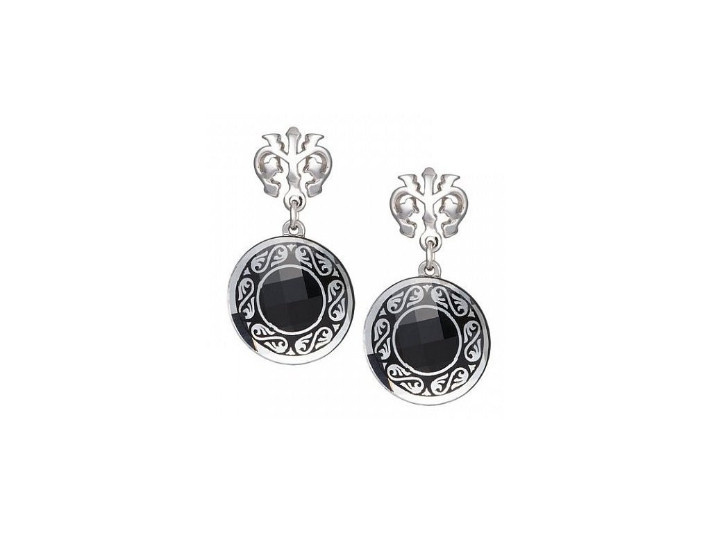 Náušnice z broušeného skla Magical Ornament II v černé barvě od firmy Preciosa