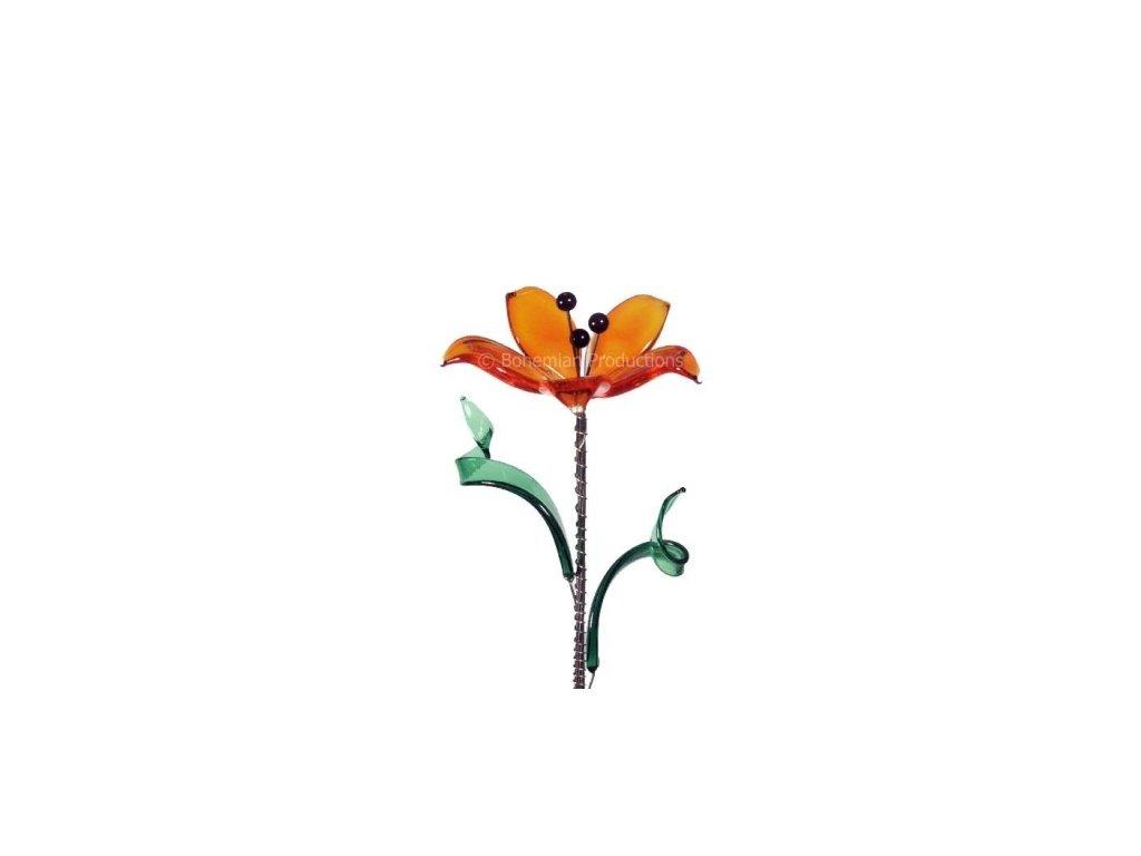 Skleněná kytka  Oranžový sen