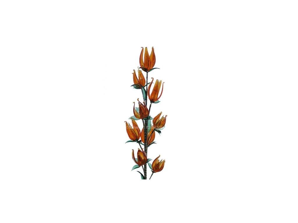 Skleněná kytka  Oranžový tulipán