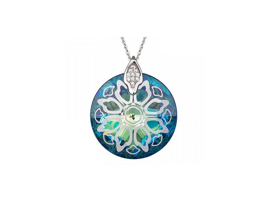 Přívěsek z broušeného skla Crystal Rose II v modré barvě od firmy Preciosa