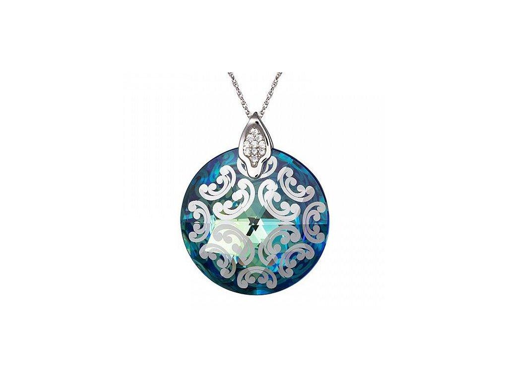 Přívěsek z broušeného skla Crystal Rose I v modré barvě od firmy Preciosa