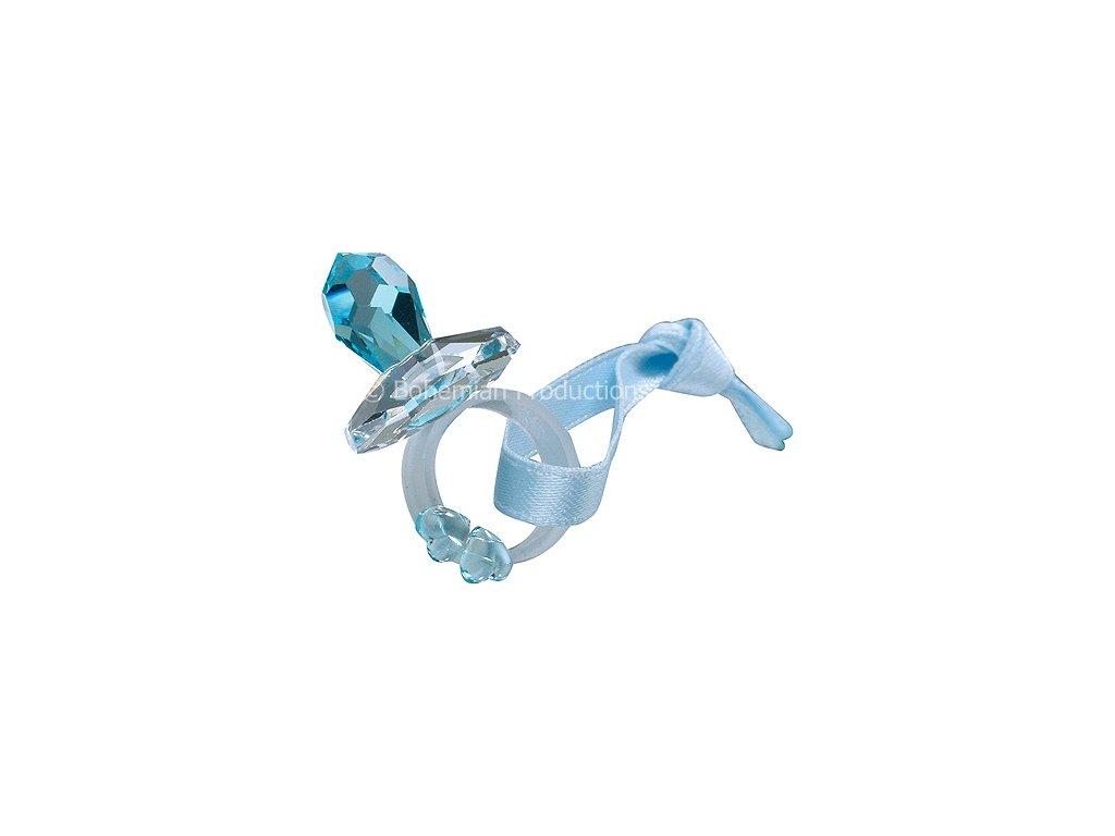 Skleněná figurka z broušeného křišťálu Sklo Bohemia - Malý dudlík (modrá)
