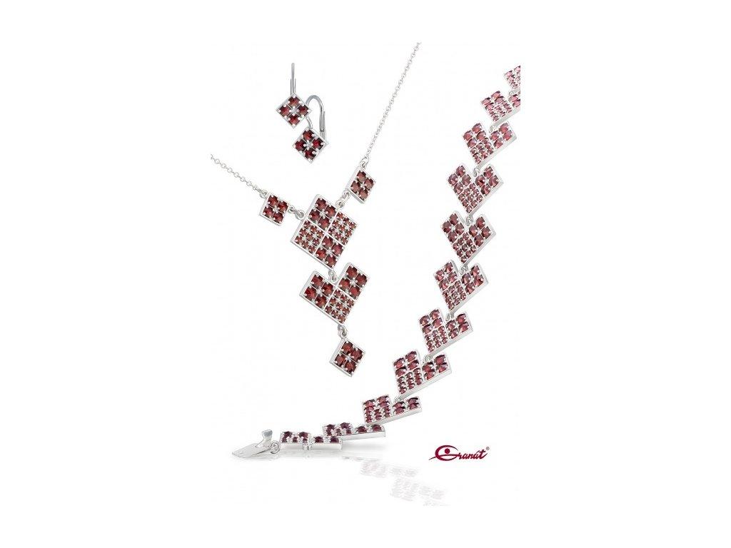 Český granát  Luxusní souprava šperků 25