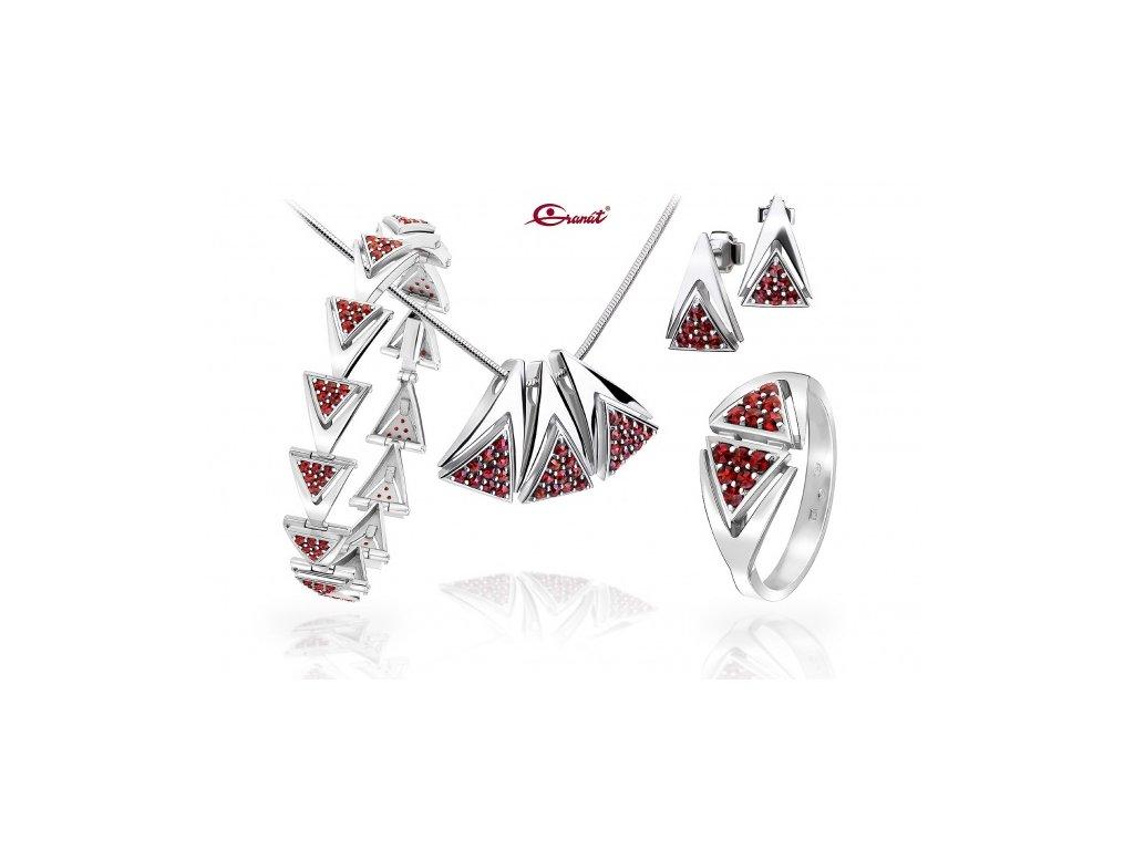 Český granát  Luxusní souprava šperků 32