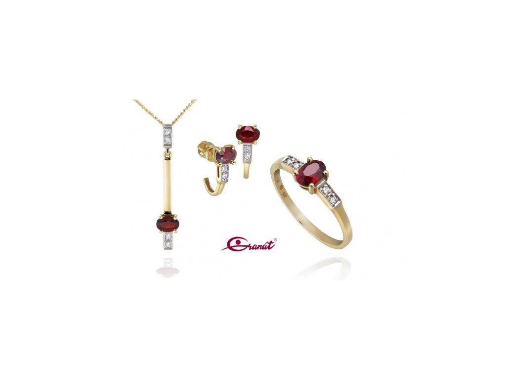 Český granát  Luxusní souprava šperků s pravými diamanty 3