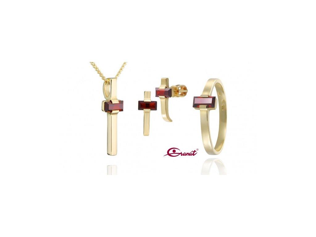 Český granát  Luxusní souprava šperků 2