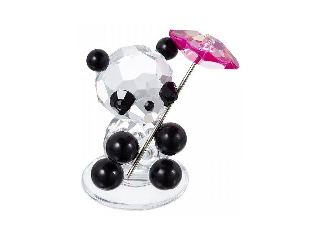 Skleněná figurka z broušeného křišťálu Sklo Bohemia - Panda se slunečníkem