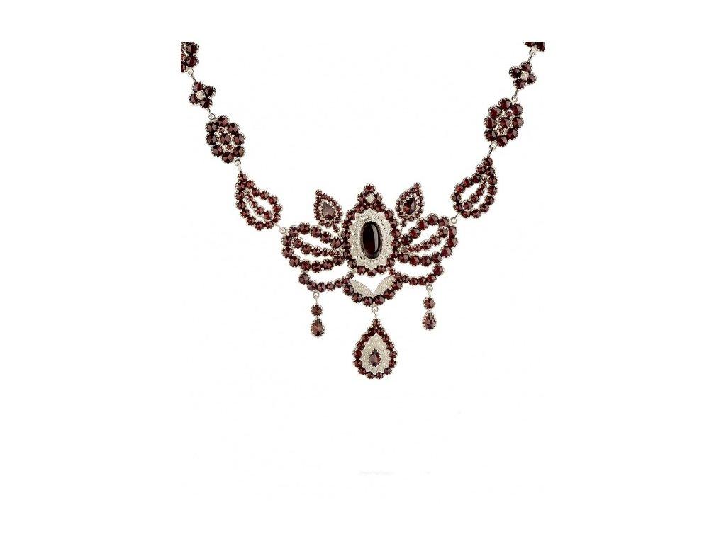 Český granát  Luxusní náhrdelník s pravými perlami 2