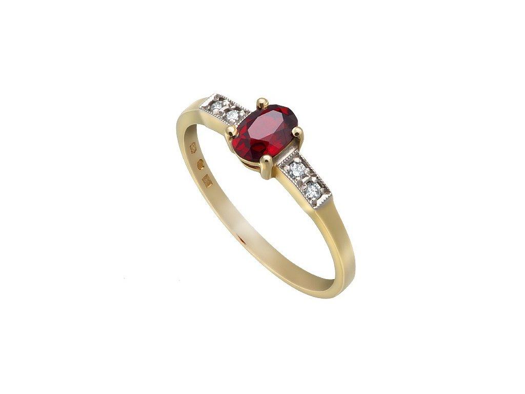 Český granát  Luxusní prsten s pravými diamanty 5