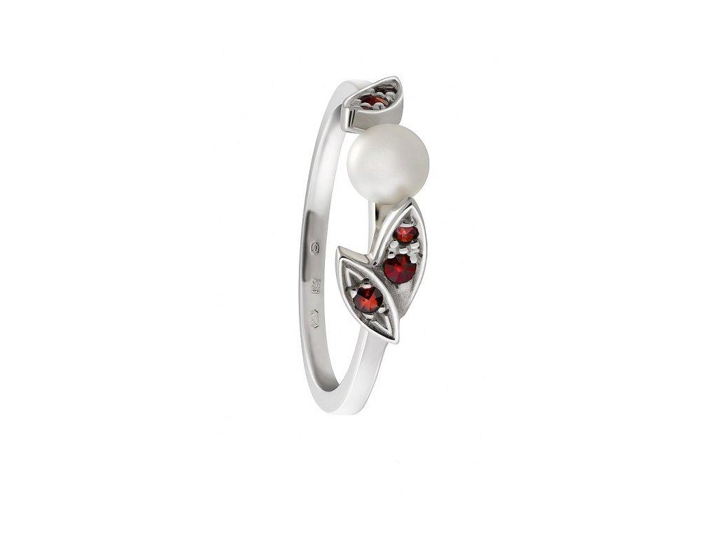 Český granát  Luxusní prsten s pravou perlou 11