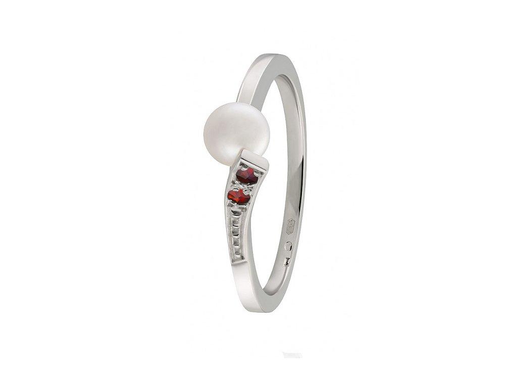 Český granát  Luxusní prsten s pravou perlou 12