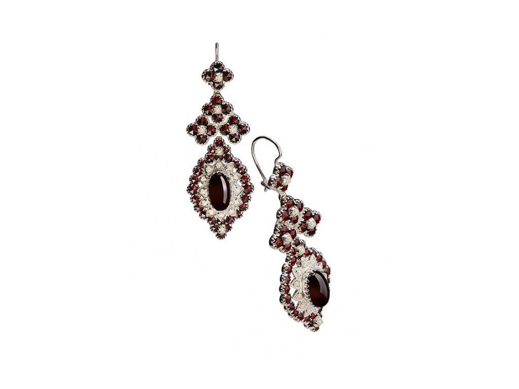 Český granát  Luxusní náušnice s pravými perlami 10