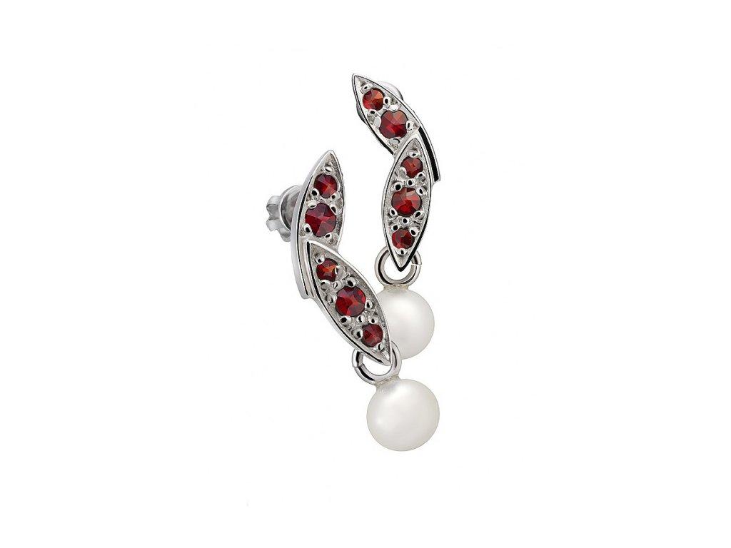 Český granát  Luxusní náušnice s pravou perlou 4