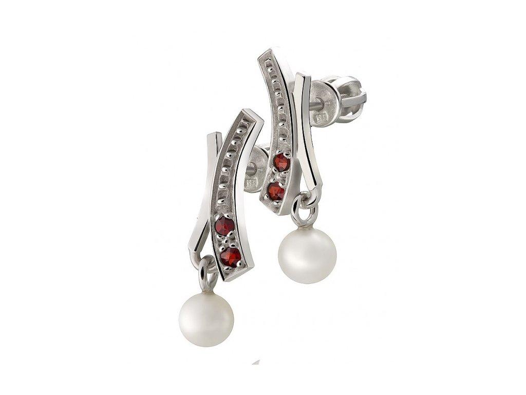 Český granát  Luxusní náušnice s pravou perlou 3