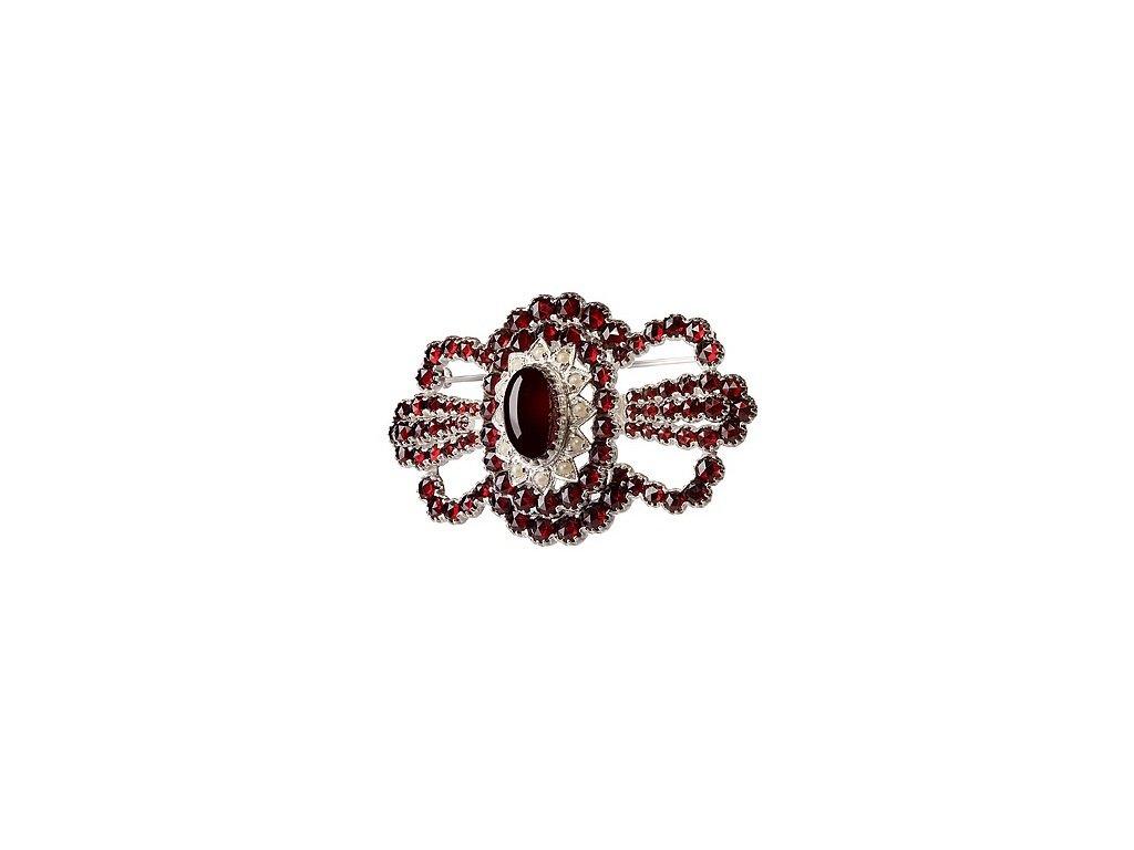Český granát  Luxusní brož s pravými perlami