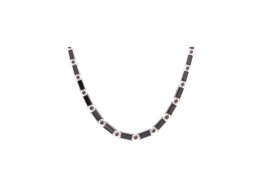 Český granát  Luxusní náhrdelník s onyxem