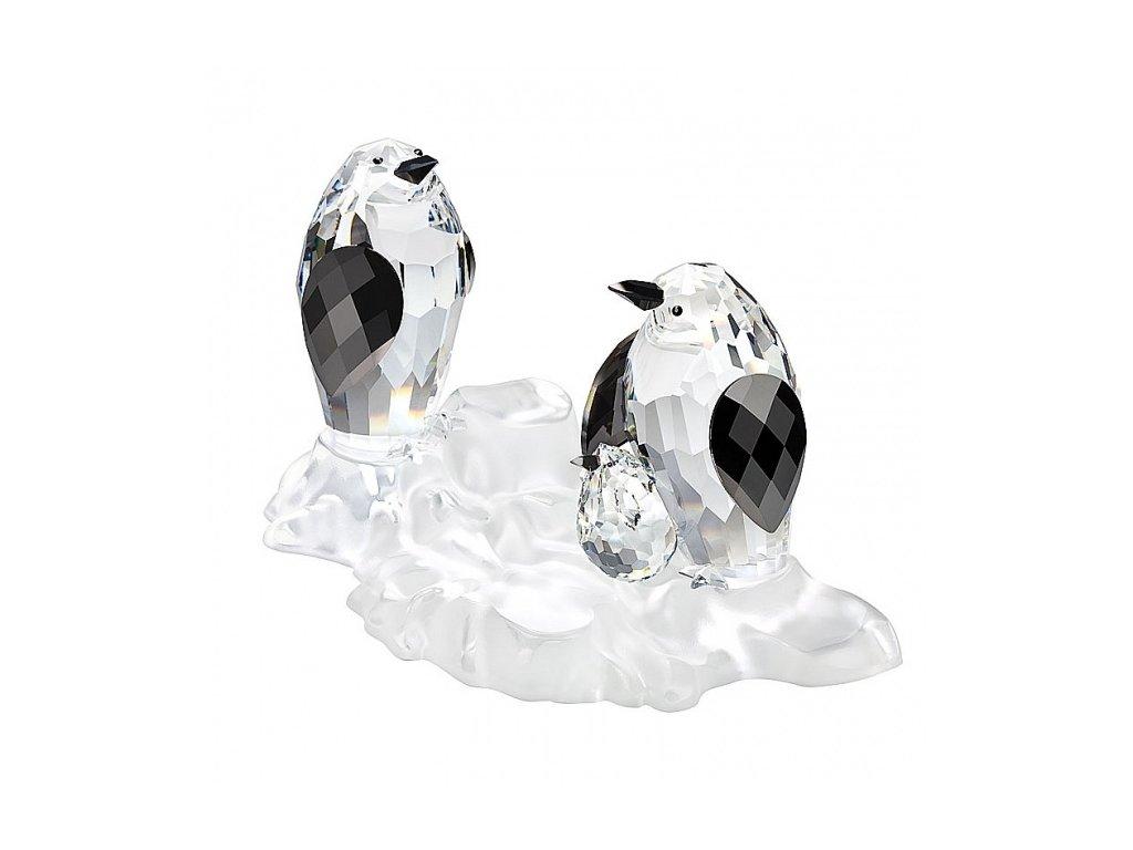 Skleněná figurka z broušeného křišťálu Sklo Bohemia - Rodina tučňáků