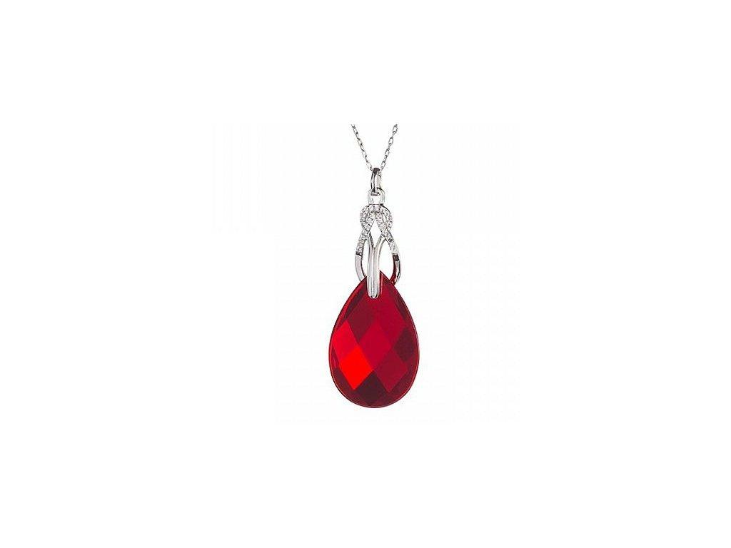 Stříbrný přívěsek Dainty Loop v červené barvě od firmy Preciosa